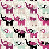 Cheerful Seamless Pattern Elephants And Flowers. Purple Black