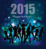 Happy new year 2015. Party background and young people.