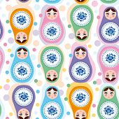 Seamless Pattern Russian Dolls. Blue, Green, Purple, Pink. Vecto