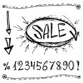 Sale, Numbers, Percentages, Arrows. Sketched On A White Background