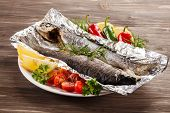 Fish dish - roast trout with vegetables