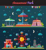 Set of flat design composition with amusement park elements