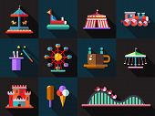 Set of flat design amusement park icons