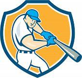 American Baseball Player Batting Shield Cartoon