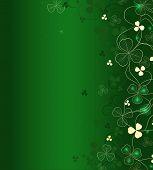 Golden Leaf Clover On Green Background