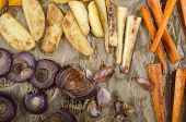 foto of parsnips  - roasted vegetable potato onion garlic carrots parsnip on kitchen paper - JPG