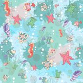 Seamless Abstract Marine Life.seamless Pattern With Sea Inhabitants On The Background Color Blots,in