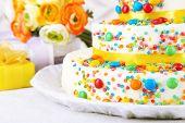 Beautiful tasty birthday cake, close up