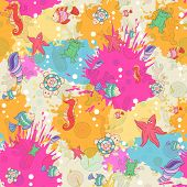 Seamless Pattern With Sea Inhabitants On The Background Color Blots,inks. Vector Illustration.