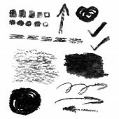 image of charcoal  - Set of vector charcoal doodle design elements - JPG