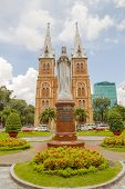 Regina Pacis statue in front of Saigon Notre-Dame Basilica in Ho Chi Minh City, Vietnam.