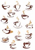 Hot brown coffee icons