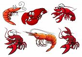 image of googly-eyes  - Cartoon red shrimp - JPG