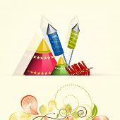 Illustration of crackers for Diwali celebration for Diwali celebration on floral decorated background.