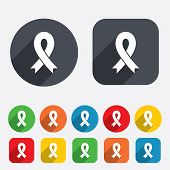 Ribbon sign icon. Breast cancer awareness symbol