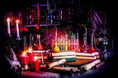 stock photo of witchcraft  - Medieval alchemist laboratory - JPG
