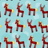 deer and horse. Set of funny animals seamless pattern on a blue background. vector