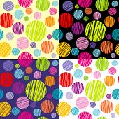 Set Of Four Seamless Pattersns With Round Shapes