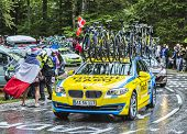 The Team Car Of Thinkoff Saxo During Le Tour De France