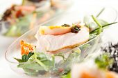 pic of buffet lunch  - Buffet Seafood Salad on White Dish - JPG