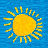 The Sun On Blue Sky In The Style Of Impressionism