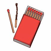 Top View Red Matchbox Isolated On A White Background. Color Line Art. Retro Design. Vector Illustrat
