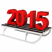 3D Red 2015 Year With A Sleigh