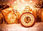 Christmas pocket watch still life.