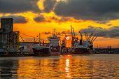 Port Of Gdansk At Sunset