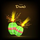 Illustration of exploding crackers with stylish text of Diwali for Diwali celebration on shiny black background.