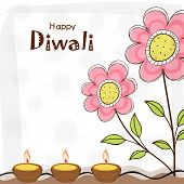 image of diwali  - Stylish illuminated oil lit lamps with flowers stalk design and text of Diwali for Diwali celebration - JPG