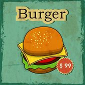 Vintage fast food menu price card design with hamburger on grungy green background.
