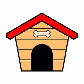 image of dog-house  - Dog house icon as a symbol of dog house - JPG