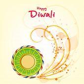 Stylish text of Diwali with exploding cracker for Diwali celebration on shiny beige background.