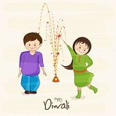 Cute little kids playing with fire crackers on beige background for Happy Diwali celebrations.