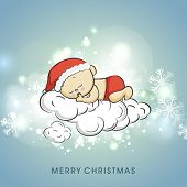 Cute little baby in santa claus hat dreaming for christmas night, beautiful greeting card decorated with snowflakes for Merry Christmas celebrations.