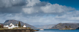 image of carron  - A sight seeing boat on Loch Carron off the coast of Plockton in the Scottish Highlands - JPG