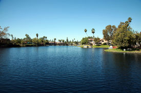 foto of dock a lake  - Private Lake with homes and boats in Lake Forest California - JPG