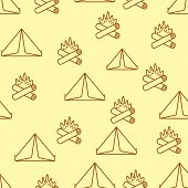Seamless background on camping theme
