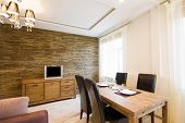 pic of wooden fence  - Modern interior of a living room studio - JPG