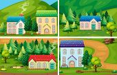 Illustration of four different houses in the countryside