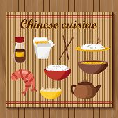 Set of objects on chinese cuisine theme