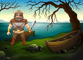 Illustration of a male viking by the lake