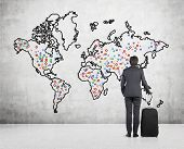 Businessman Looking On World Map