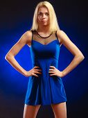 Alluring Girl Long Blond Hair Evening Dress