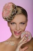 Beautiful Woman With Creative Hairstyle From Donut