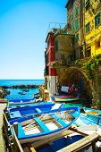 Riomaggiore Village Street, Boats And Sea. Cinque Terre, Ligury, Italy