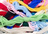 Closeup View Of Bundles Of Colorful Yarn