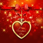 Valentine's Day background with hanging heart and ribbon