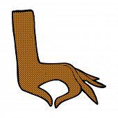retro comic book style cartoon hand symbol